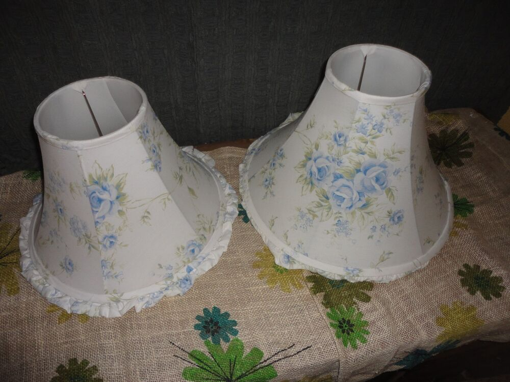 simply shabby chic british rose blue floral pair small large lampshades ebay. Black Bedroom Furniture Sets. Home Design Ideas