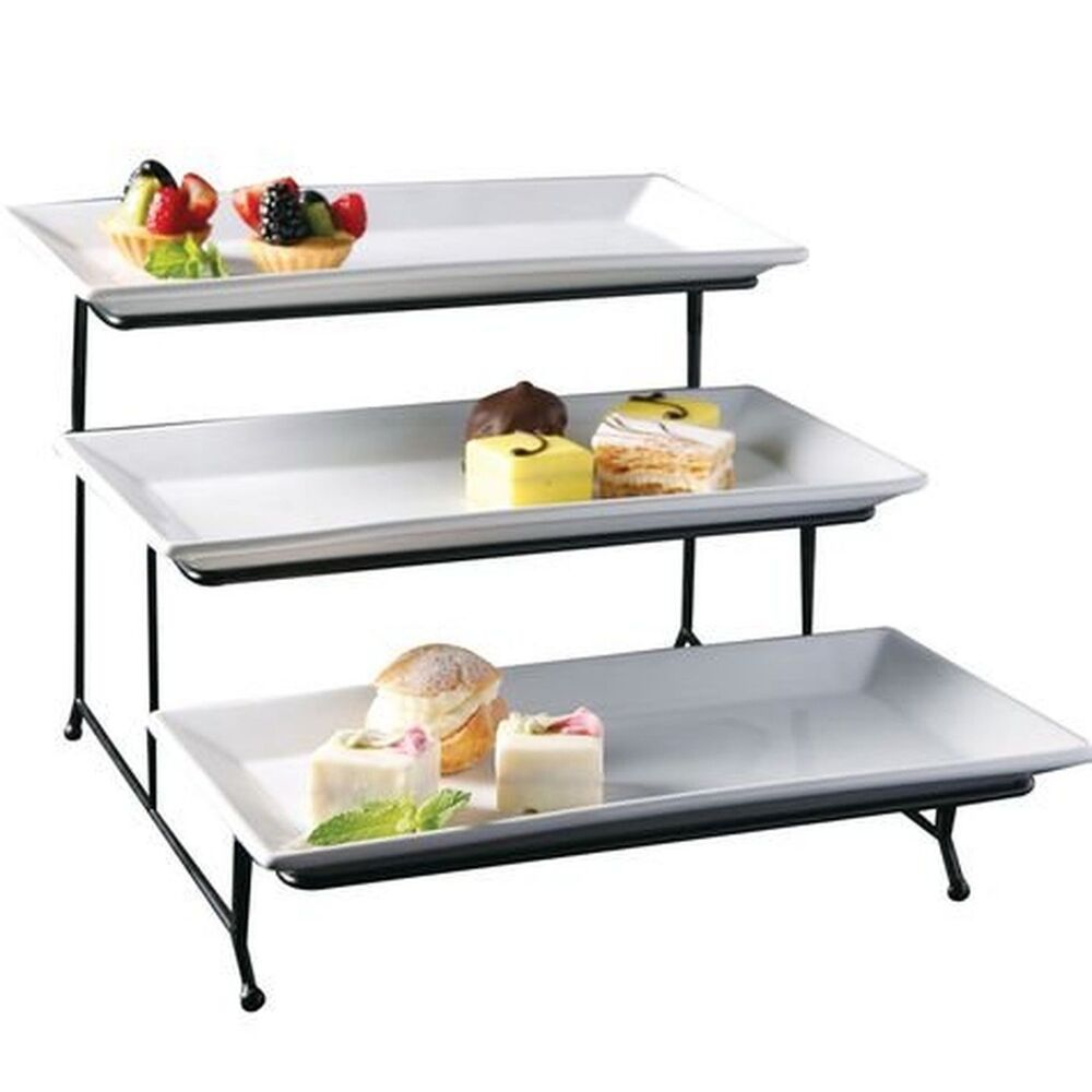 Porcelain 3 Tier Serving Tray Rectangular Dessert Stand