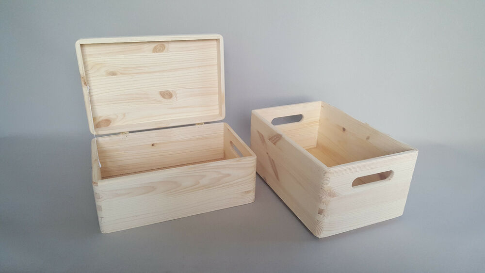 2x wooden box lid plain wood storage trunk craft handles for Craft storage boxes with lids
