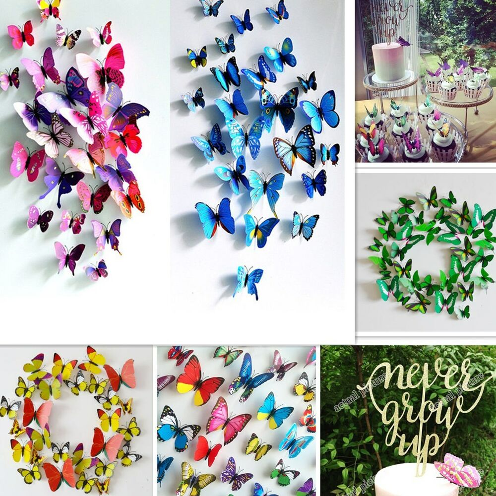 12pcs 3D Butterfly Sticker Art Design Decal Wall Stickers