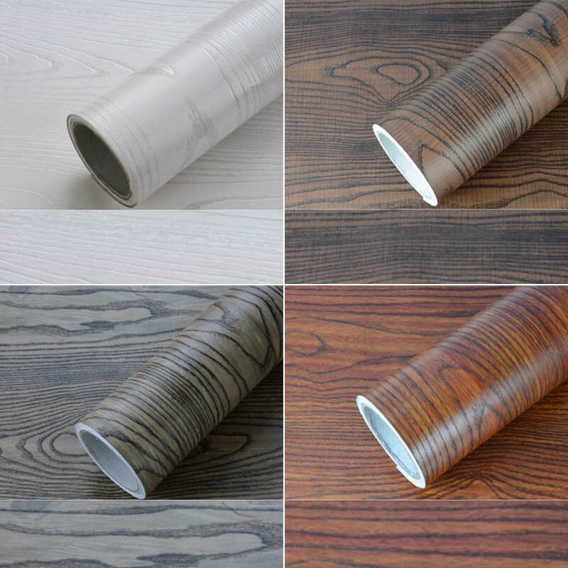 1m Self Adhesive Wallpaper Wood Grain Furniture