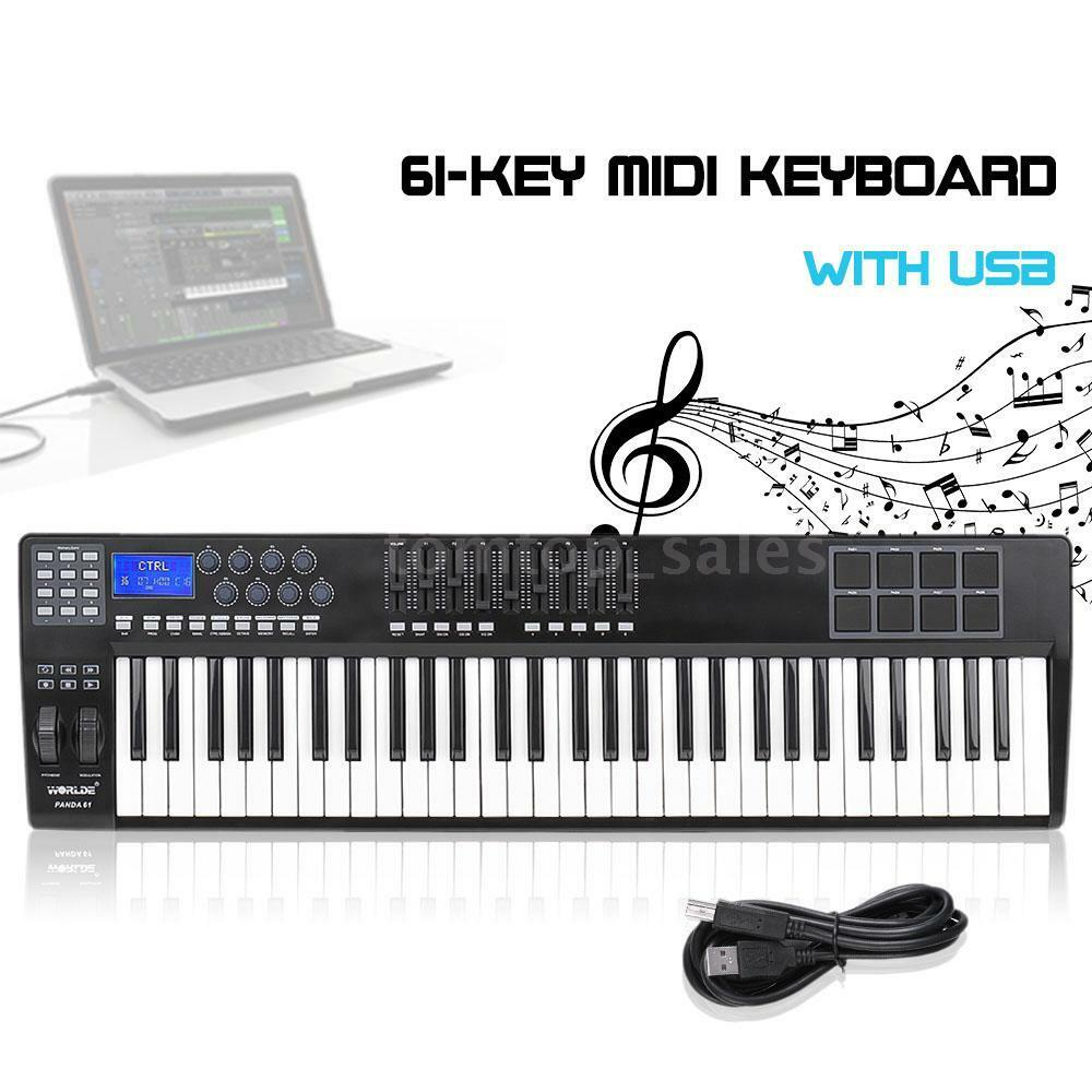 panda61 61 key usb midi keyboard controller 8 drum pads with usb cable m2l3 ebay. Black Bedroom Furniture Sets. Home Design Ideas