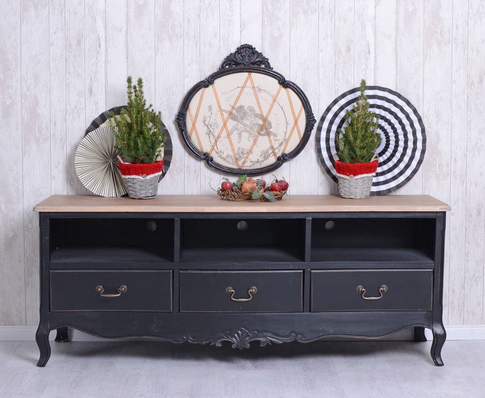meuble tv noir buffet sideboard vintage salle de sejour ebay. Black Bedroom Furniture Sets. Home Design Ideas