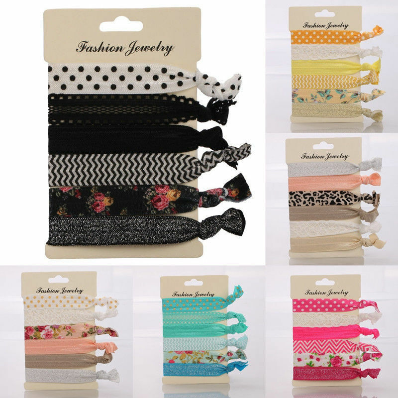 6 Pieces Elastic Hair Ties No Crease Ponytail Holder Foe