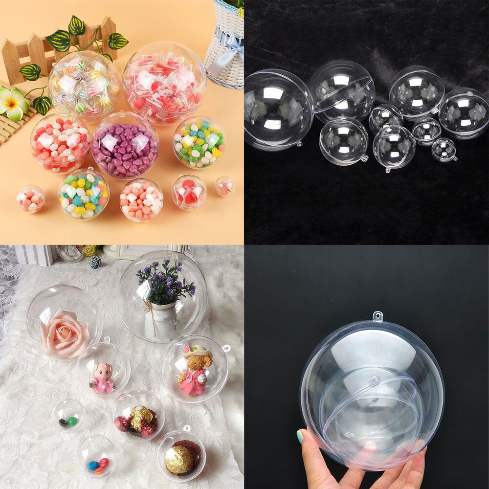 500pcs clear plastic ball ornaments christmas favor candy for Clear christmas bulbs for crafting