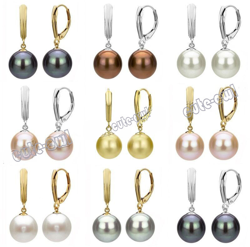 10 12 14mm Genuine South Sea Shell Pearl Leverback Drop