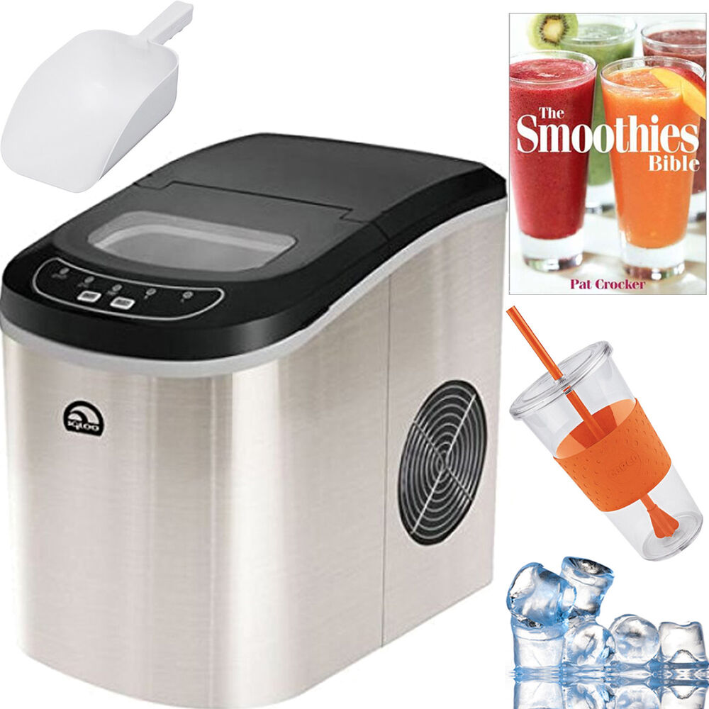 Igloo Compact Portable Ice Maker (Blue) + Smoothie Bible Bundle ...