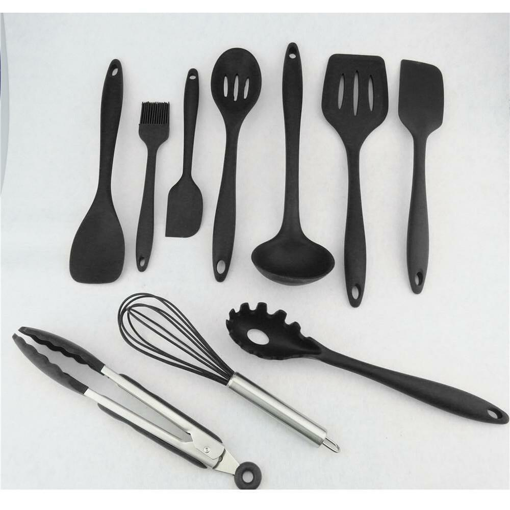 10Pcs/set Silicone Heat Resistant Kitchen Cooking Utensils ...