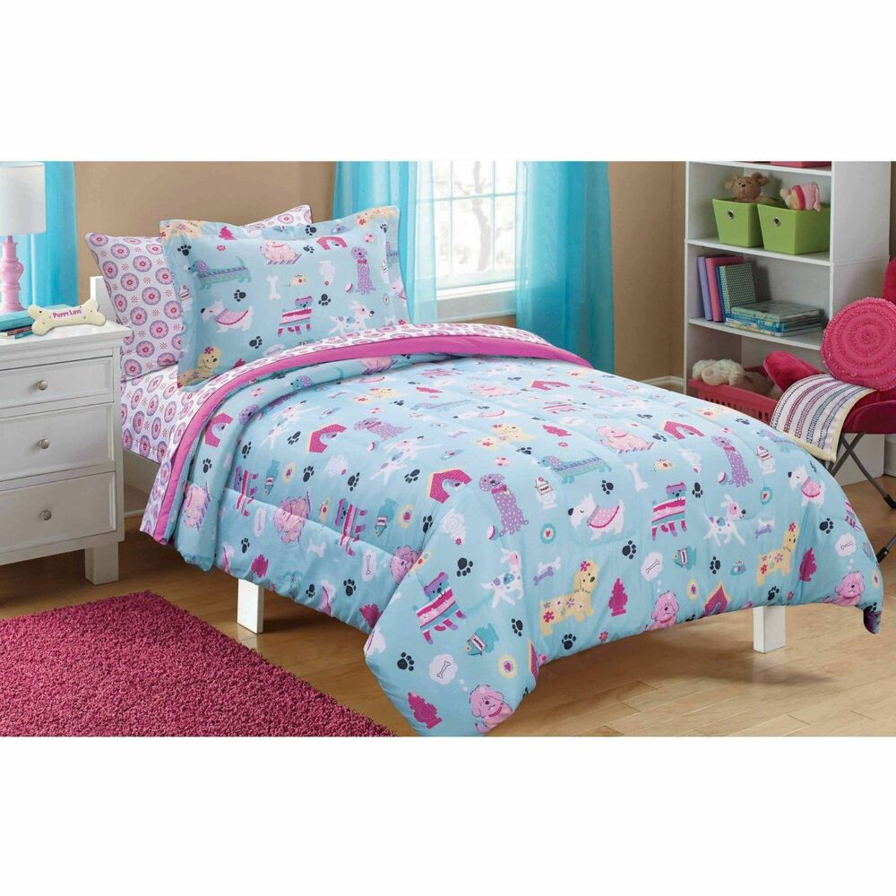 New puppy dog love bed in a bag bedding comforter sheets for Full bed bedroom sets