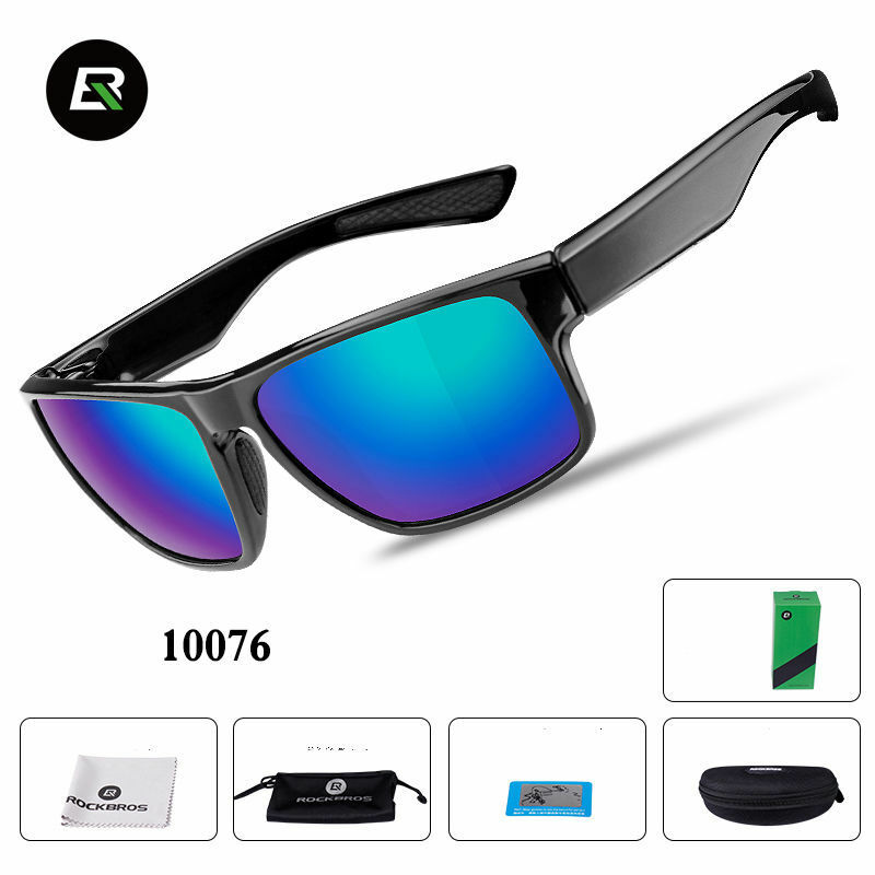 cc7cf04bed5c Details about RockBros Polarized Cycling Full Frame Sports Sunglasses  Glasses Black Blue