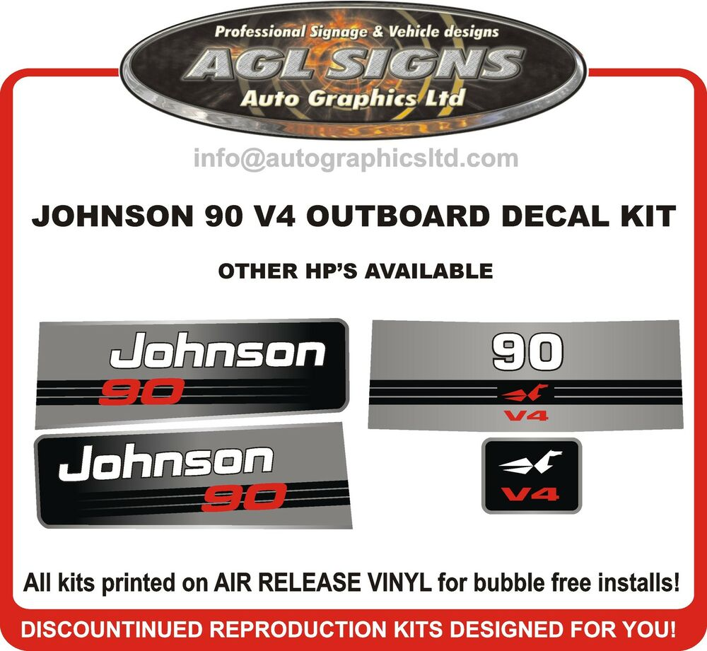 Johnson 90 Hp V4 Outboard Decal Kit Reproductions Also In