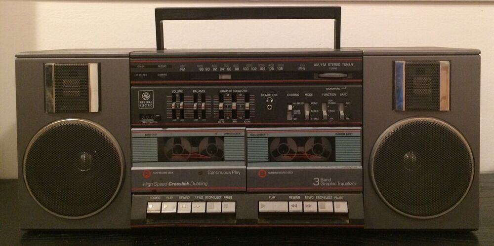 vintage general electric 3 5682a boombox ghetto blaster ge cassette stereo ebay. Black Bedroom Furniture Sets. Home Design Ideas