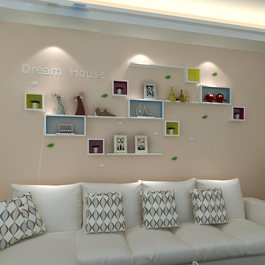 3pcs floating wood wall cubes cd dvd shelf hanging storage for Cd mural wall display