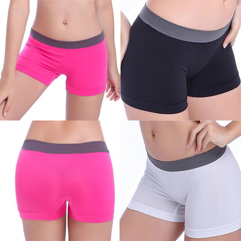 Womens Lady Fitness Yoga Boxer Shorts Seamless Sports
