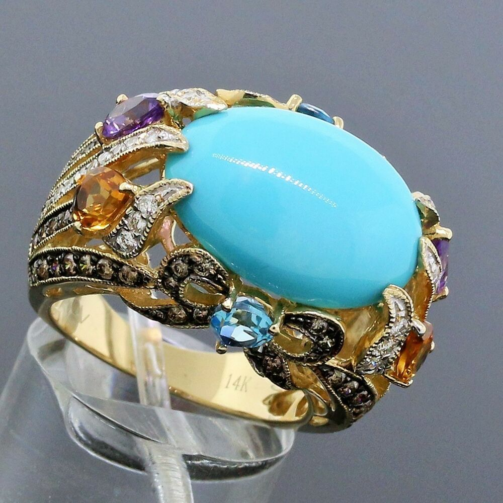 Levian Turquoise And Diamond Ring