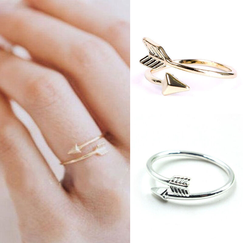 Women girl fashion rings gold silver adjustable arrow for Jewelry storm arrow ring