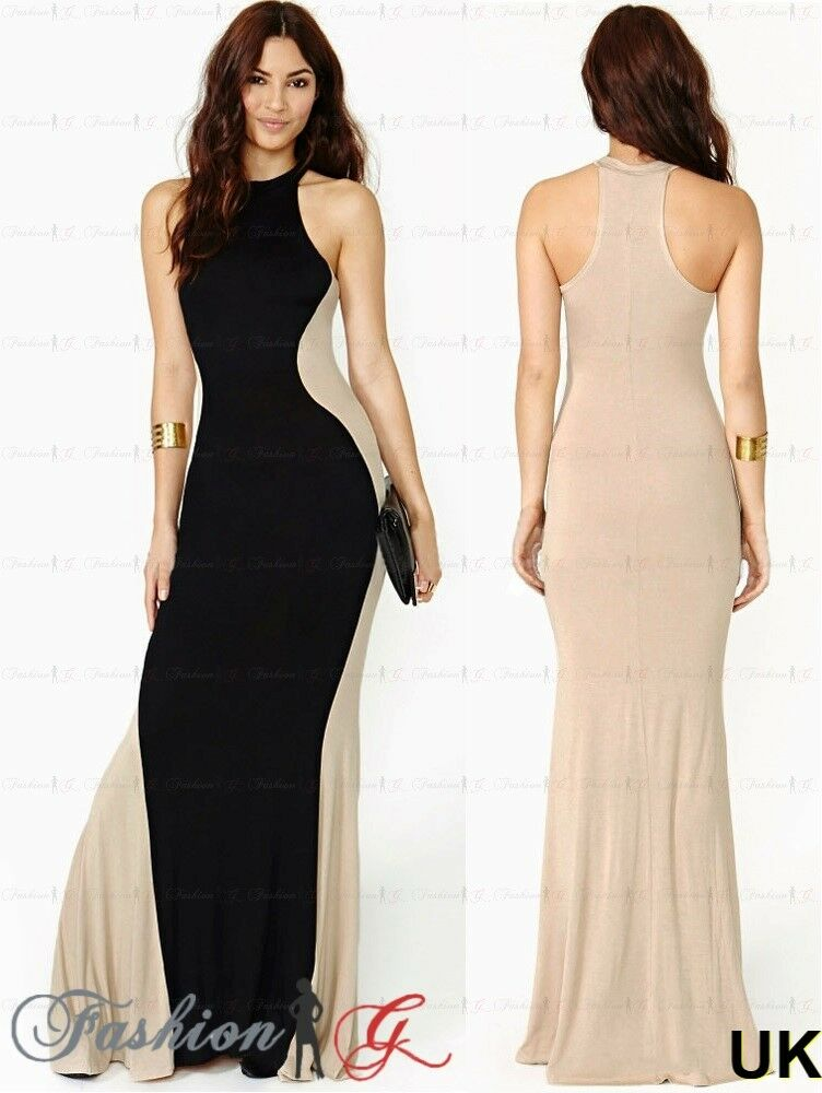 Womens Evening Dress Maxi Ball Prom Black Party Formal ...