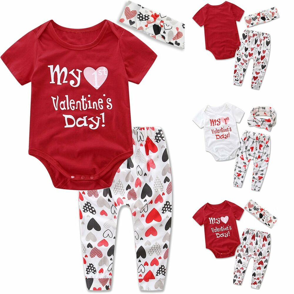 3pcs Newborn Baby Boy Girl Valentine s Day Tops Romper