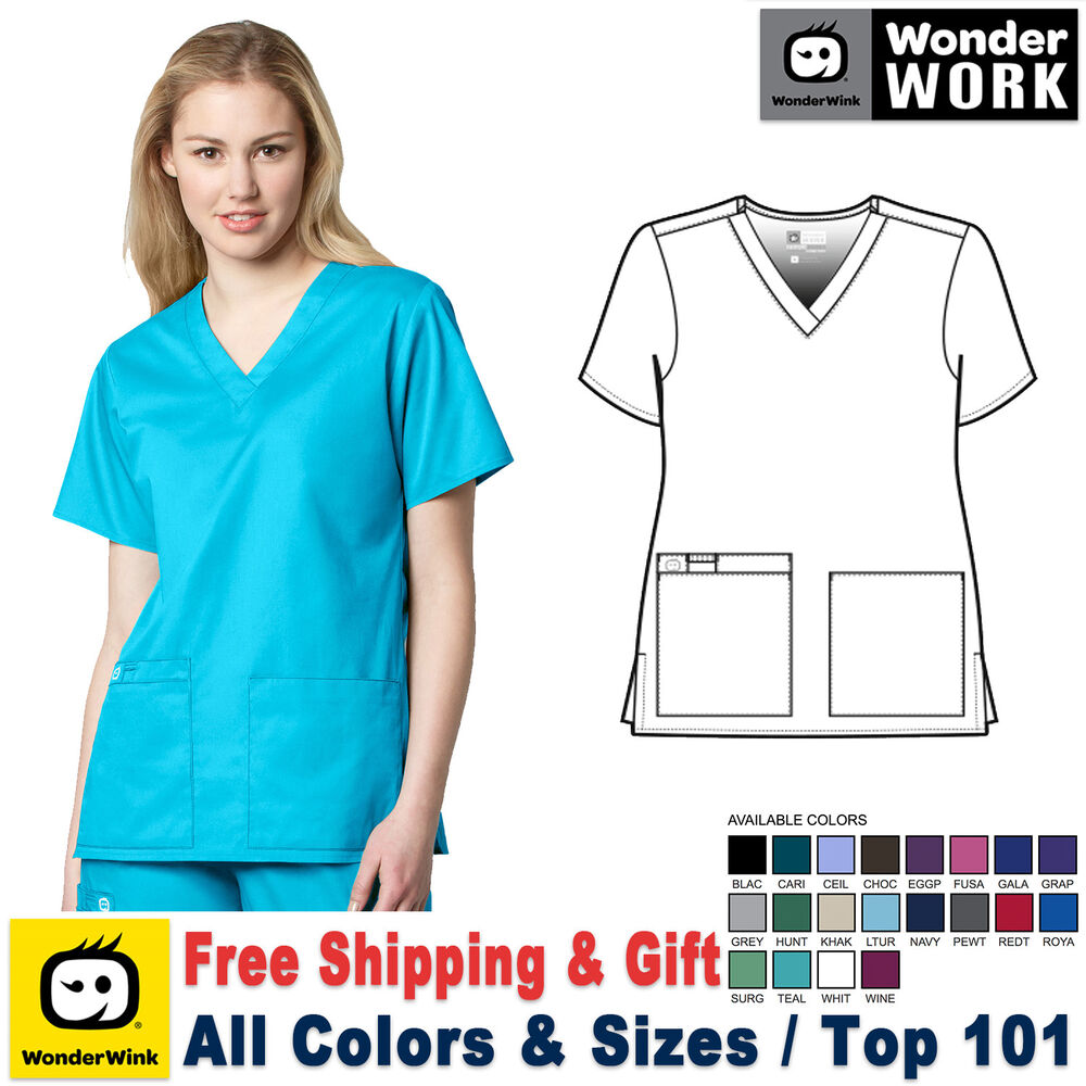 Wonderwink work xxs 5x women 39 s v neck short sleeve for Womens work shirts uniforms