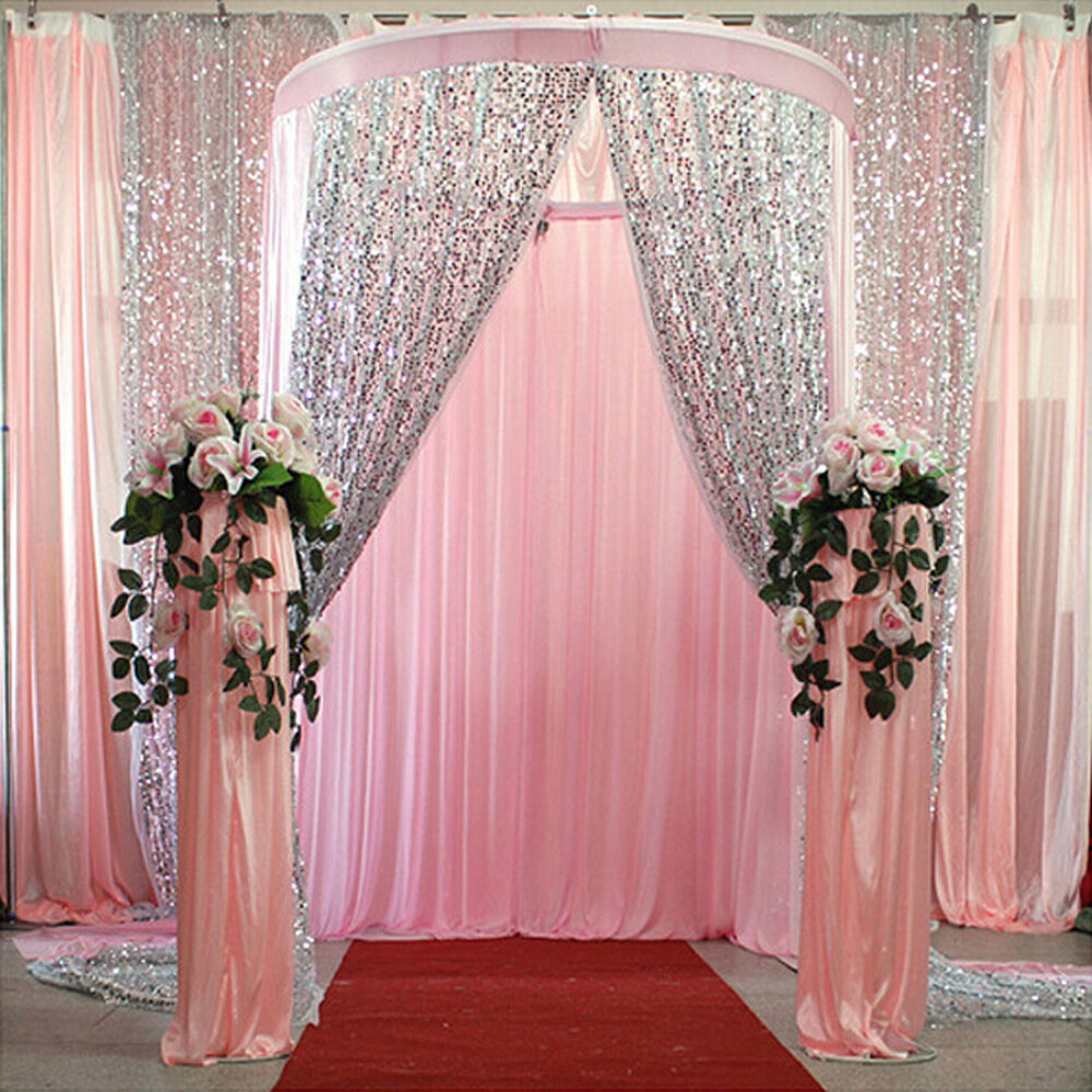 4 6ft silver gold shimmer sequin fabric photography backdrop wedding decoration ebay. Black Bedroom Furniture Sets. Home Design Ideas