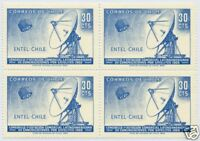 CHILE 1969 STAMP # 736 MNH BLOCK OF FOUR TELECOMMUNICATIONS SATELLITE