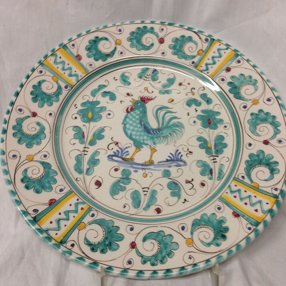 Deruta italy green rooster luncheon plate 9 1 2 green for Green italy