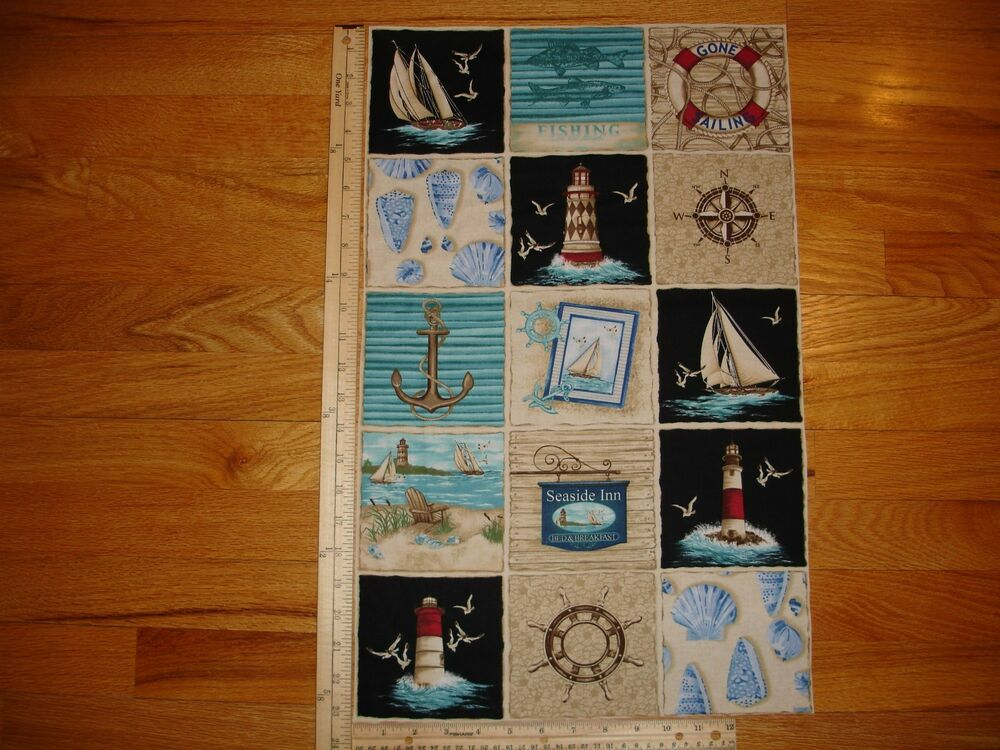 Seaside Inn Sailboats Anchor Lighthouse Cotton Quilt