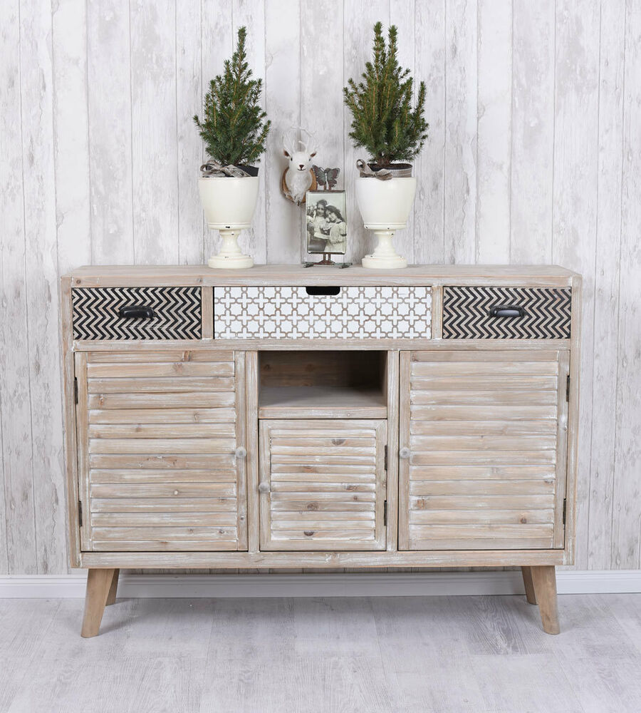 highboard vintage anrichte schrank holz wohnzimmerschrank shabby chic ebay. Black Bedroom Furniture Sets. Home Design Ideas