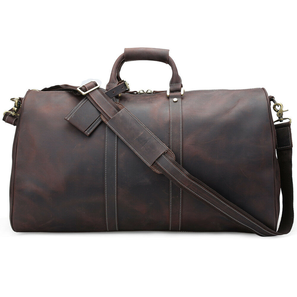 Gym Bag Briefcase: Large Vintage Luggage Men Travel Duffle Leather Tote Gym