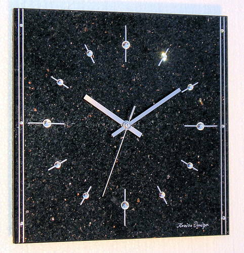 naturstein granit galaxy black star funk wanduhr original swarovski elements ebay. Black Bedroom Furniture Sets. Home Design Ideas