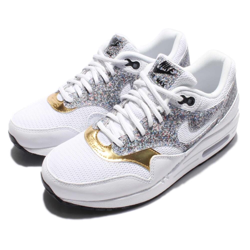 Wmns Nike Air Max 1 SE Size 7.5 Grey Gold Women Running Trainer 881101-100