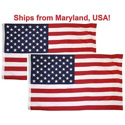 3x5 Ft American Flag w/ Grommets - United States Flags - US America - 2 Pack USA