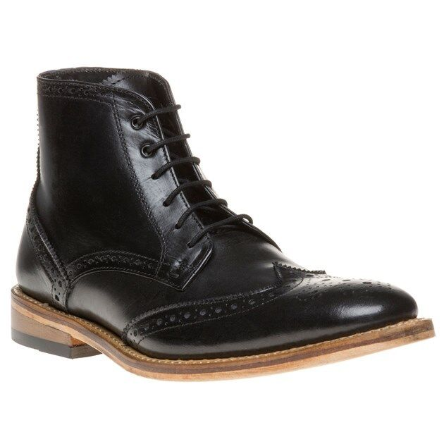 new mens sole black tilson leather boots brogue lace up ebay