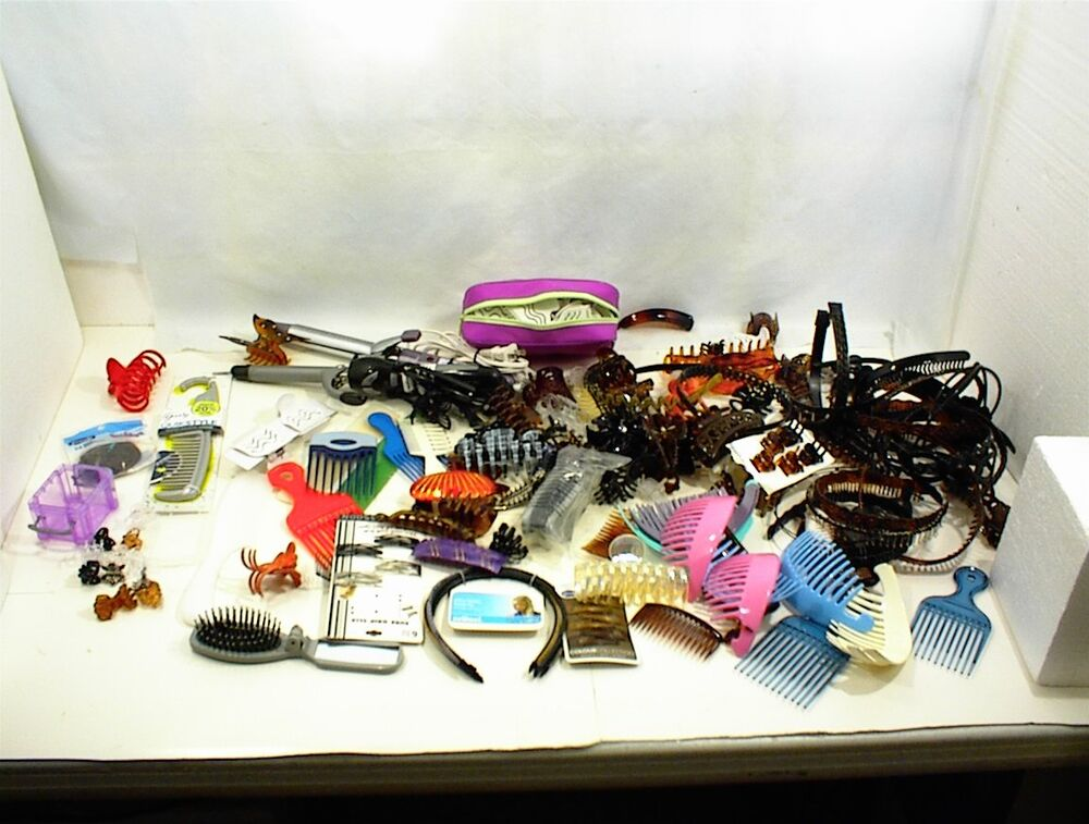 Large Lot Of Assorted Hair Clips Combs Brush Curling Iron
