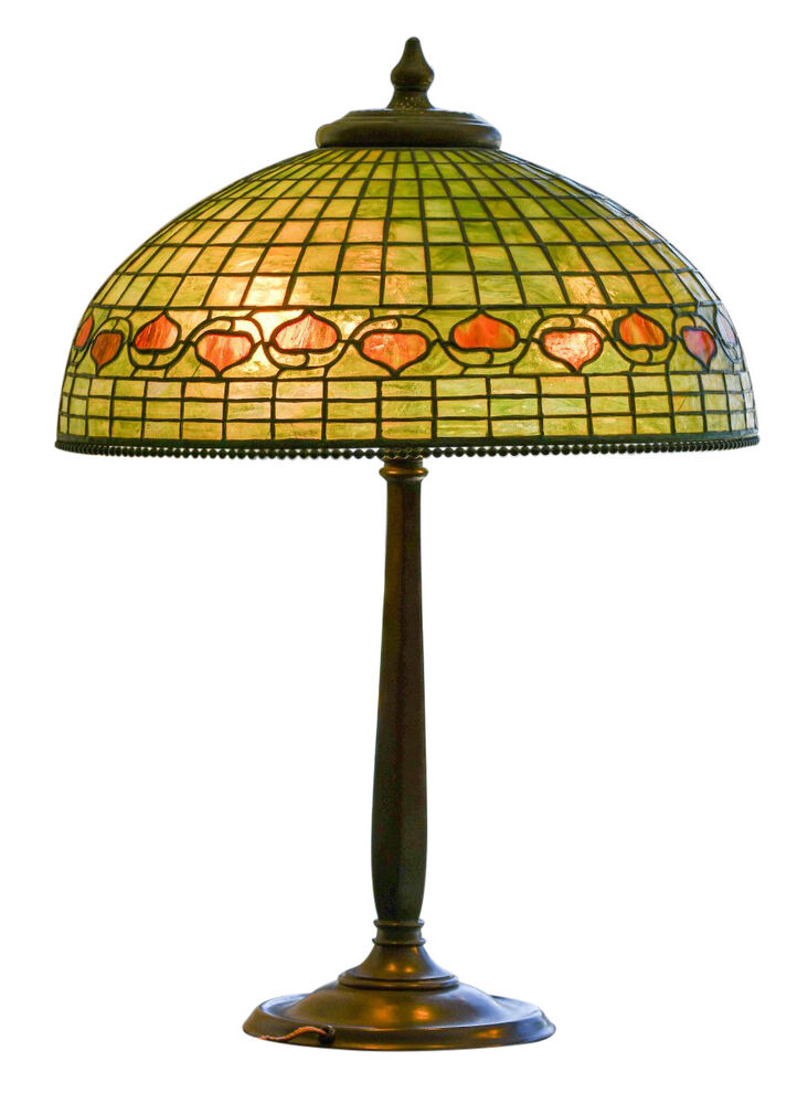 Genuine Tiffany Studios Acorn Lamp With Bronze Base Large
