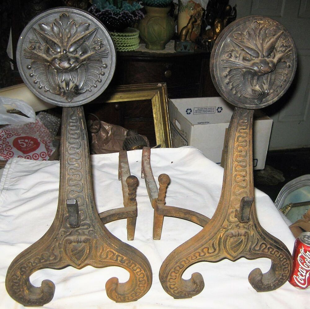 Antique Bradley Hubbard Usa Cast Iron Medieval Statue Dragon Fireplace Andirons Ebay