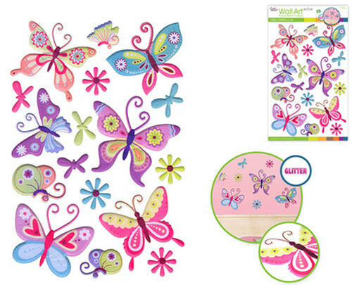 Christmas Quotes And Sayings Glitter Sticker Decal: BUTTERFLIES & Flowers Glitter 3D Puffy Wall Stickers 16