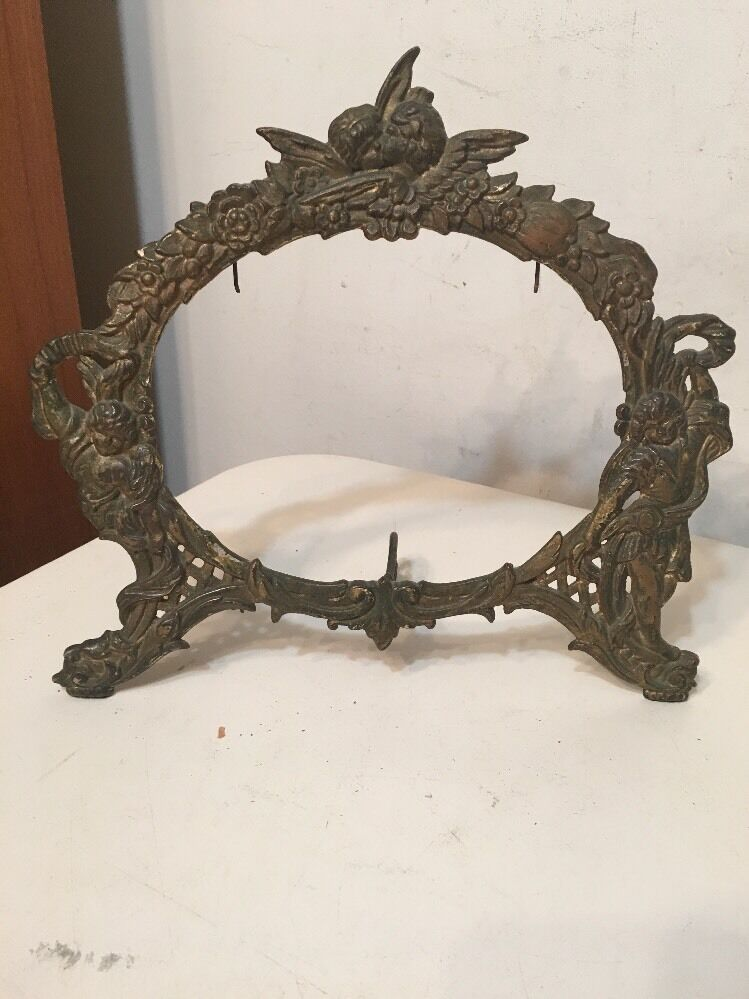 Antique Cast Iron Art Nouveau Mirror Picture Frame With
