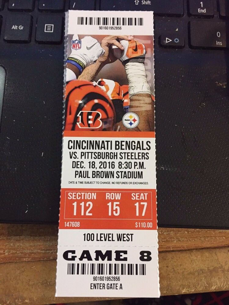 2016 Cincinnati Bengals Vs Pittsburgh Steelers Nfl Ticket