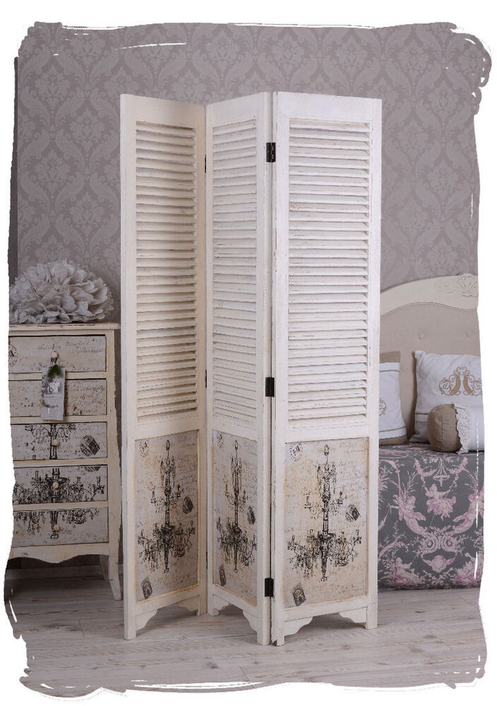 paravento shabby chic divisori bianco spagnola muro vintage ebay. Black Bedroom Furniture Sets. Home Design Ideas