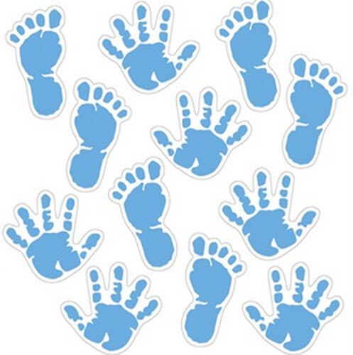 BABY BOY FOOT and HAND PRINTS wall stickers 12 decals ...