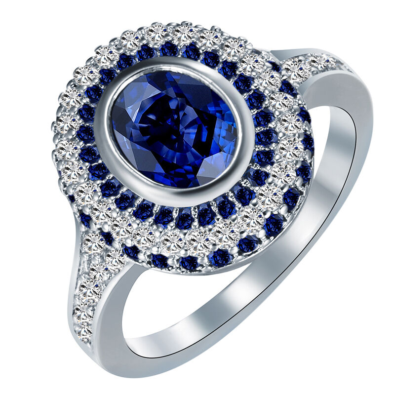 women blue sapphire white gold filled engagement ring. Black Bedroom Furniture Sets. Home Design Ideas