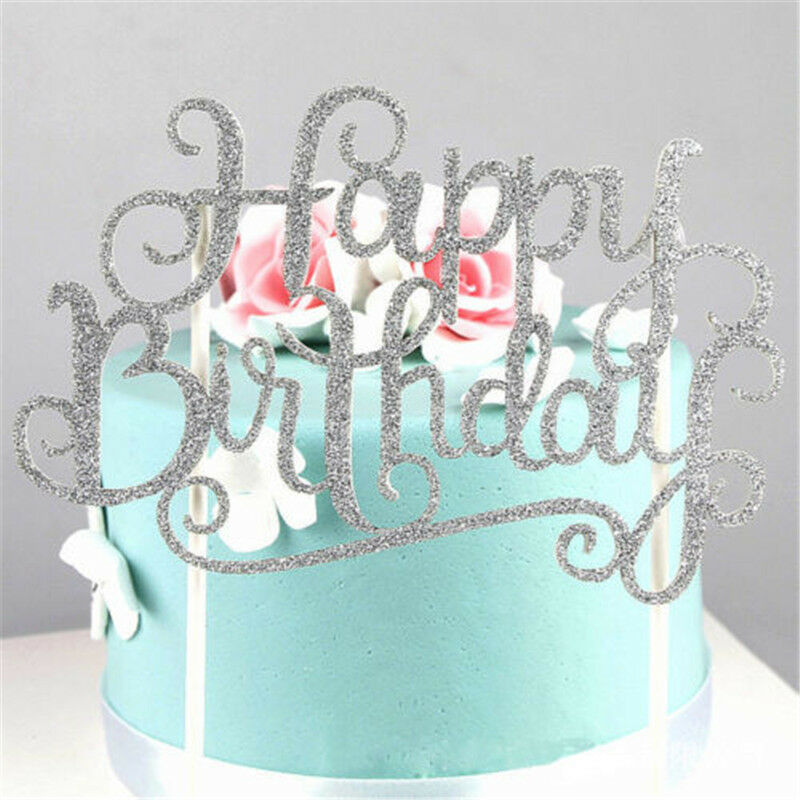 Happy Kitchen Decoration Cake: Gold Silver Happy Birthday Cake Topper Wedding Party