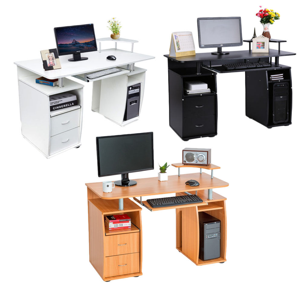 Wooden corner computer desk pc table writing workstation home office furniture ebay - Office desk furniture for home ...