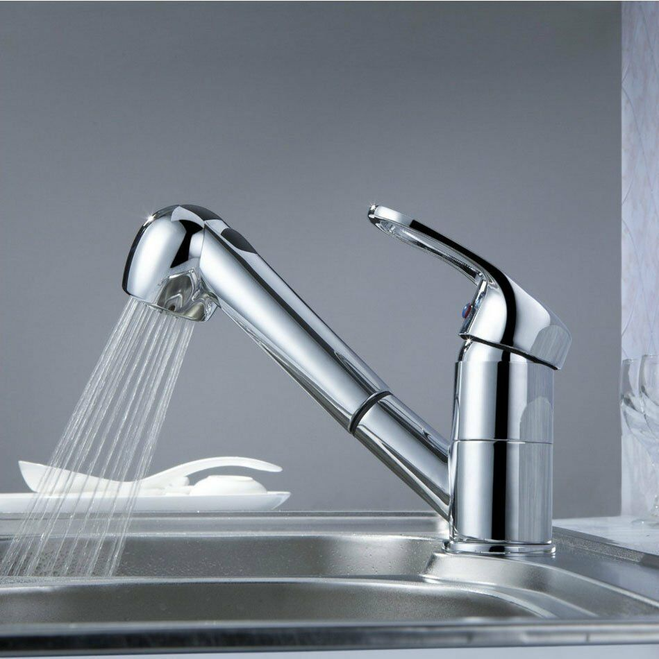 Classic Single Handle Kitchen Sink Faucet With Pull Out Spray ...