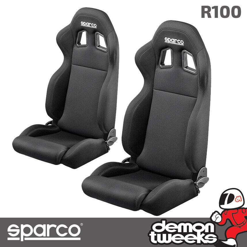 2 x sparco r100 reclining racing car sport bucket seats pair black ebay. Black Bedroom Furniture Sets. Home Design Ideas