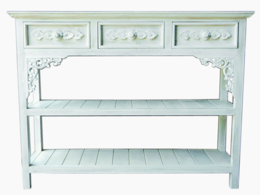 regal weiss standregal weiss antik landhaus sideboard massivholz ebay. Black Bedroom Furniture Sets. Home Design Ideas