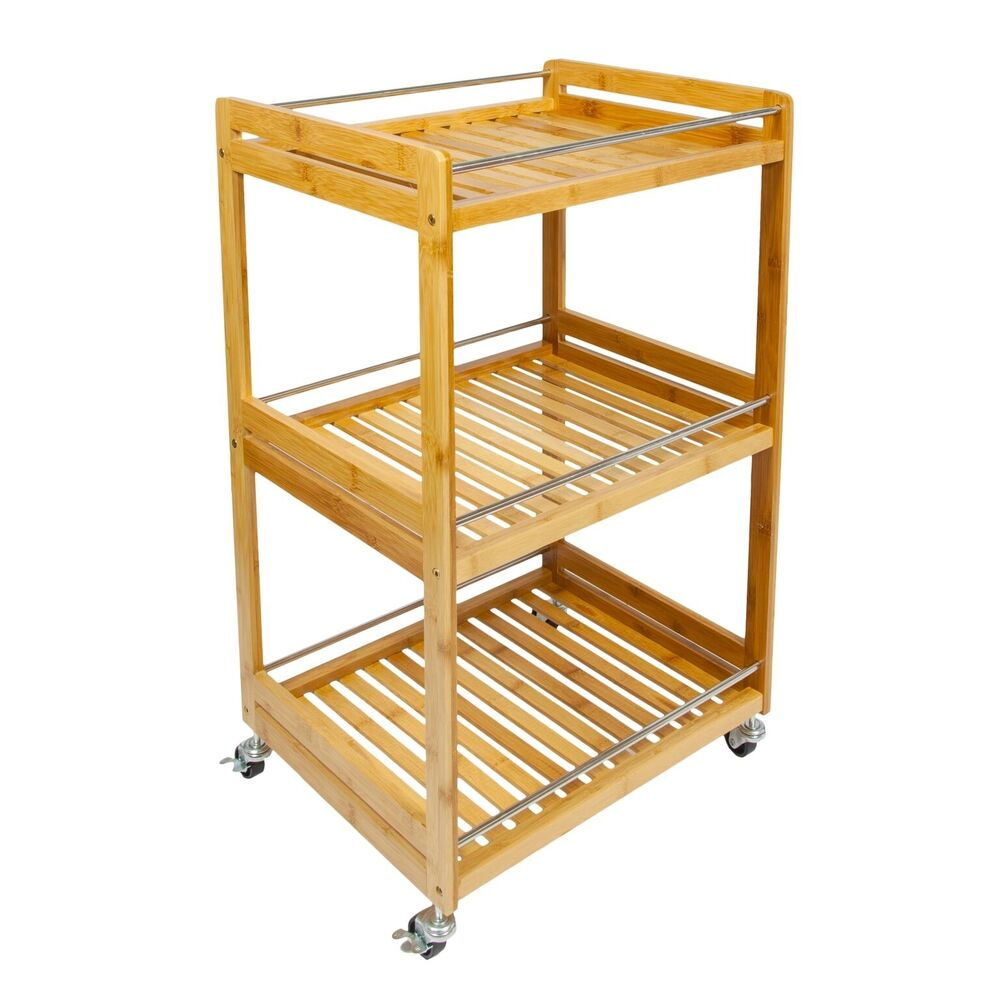 Woodluv Bamboo 3 Tier Kitchen Storage Serving Trolley