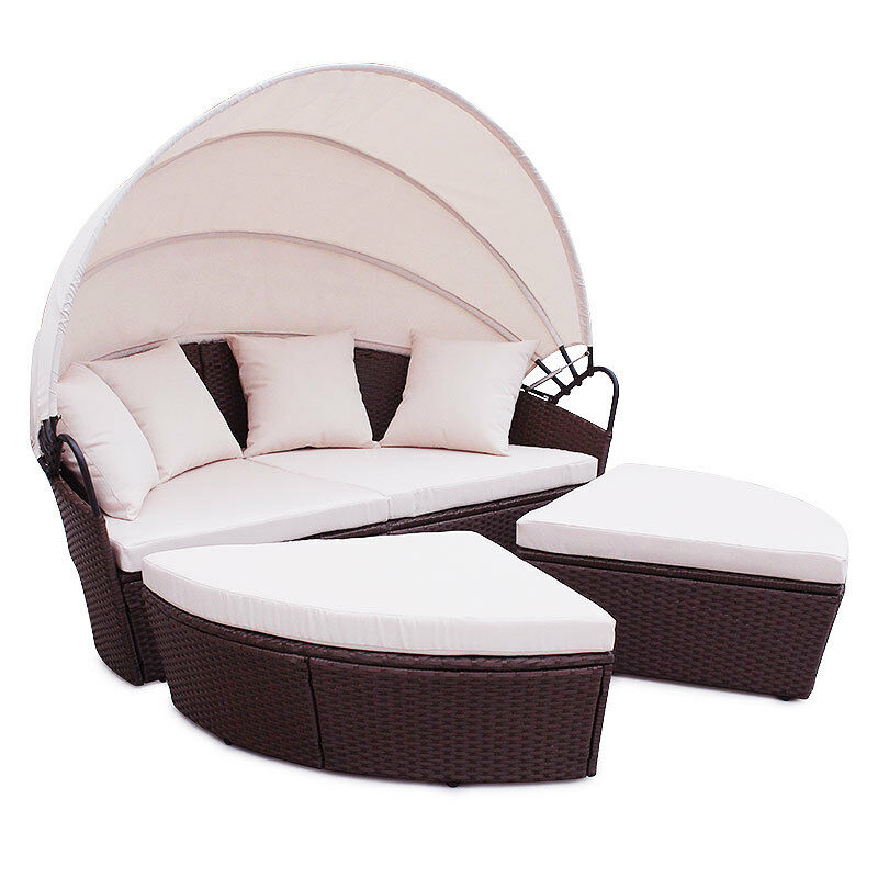 polyrattan sunbed garten lounge gartenset braun garnitur gartenm bel sonneninsel ebay. Black Bedroom Furniture Sets. Home Design Ideas