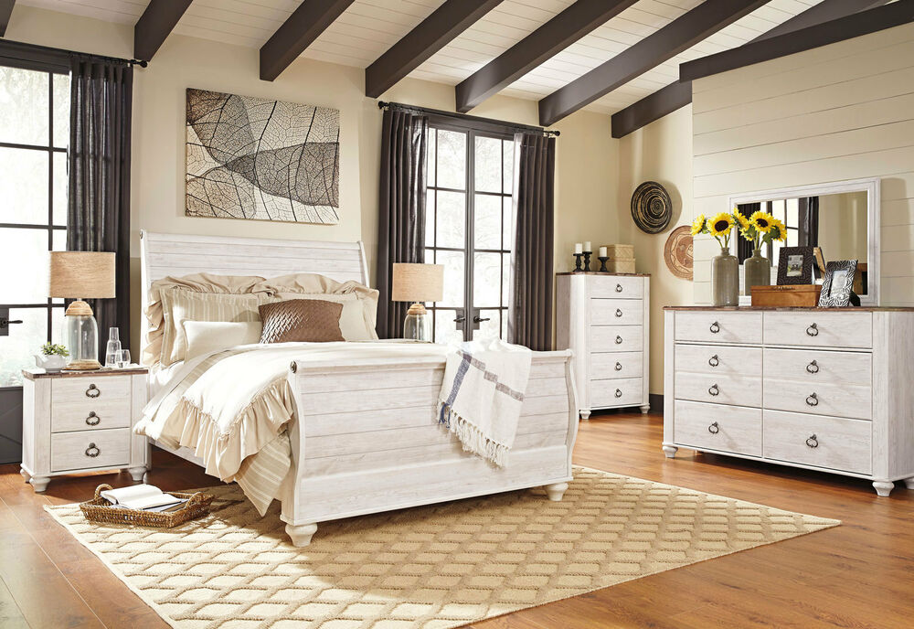 Ashley Furniture B267 Willowton White Queen King Sleigh Bed Frame Bedroom Set Ebay